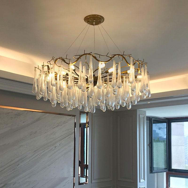 Postmodern minimalist living room crystal drop shape chandelier