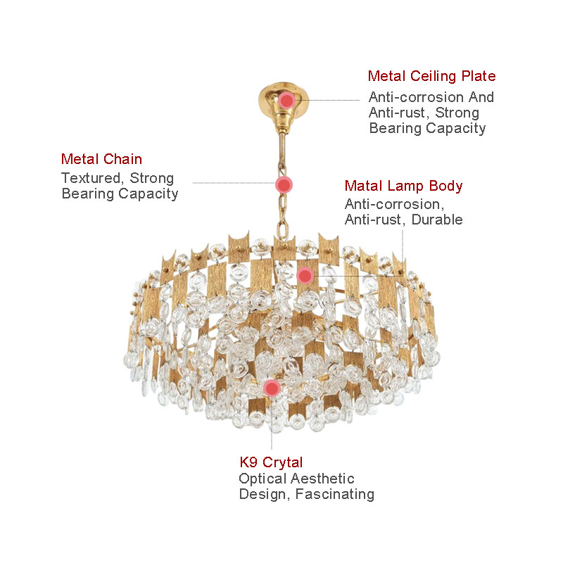 ANC-High-quality Crystal Chandelier | Nordic Style Villa Living Room Lamp-2