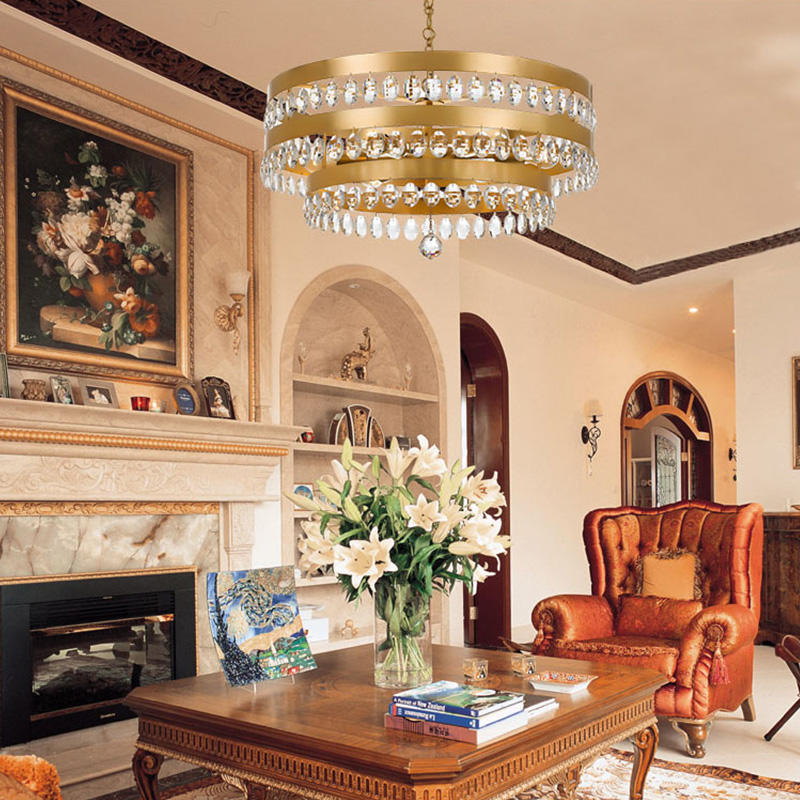 Three-layer double-layer crystal hanging personality golden study bedroom living room chandelier