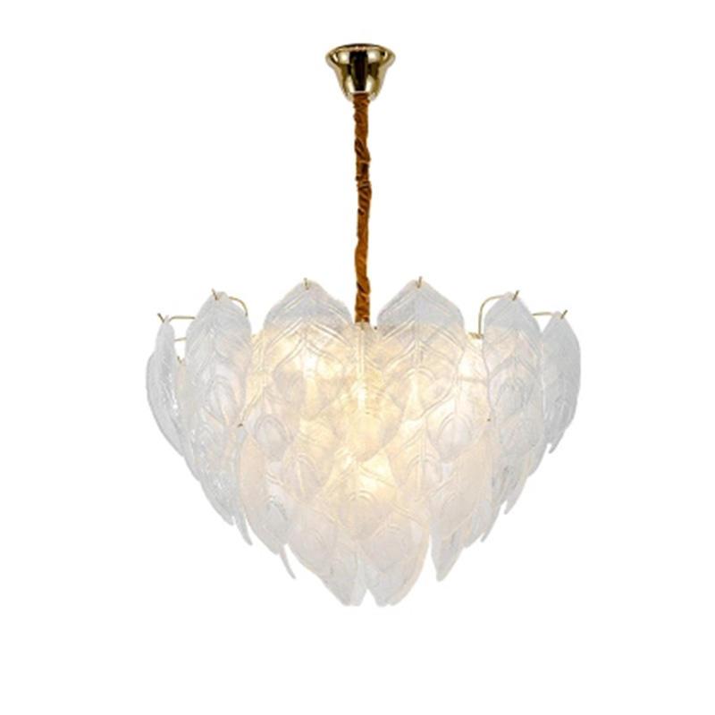 Nordic style handmade art glass tree leaves romantic chandelier