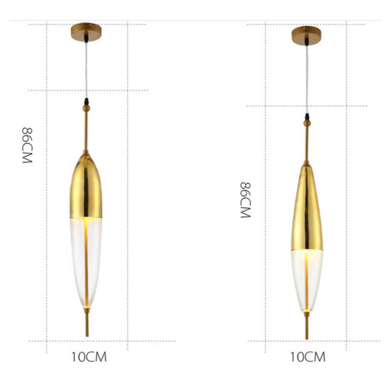 Golden water drop shape glass float shape lamp fashion bar combination chandelier