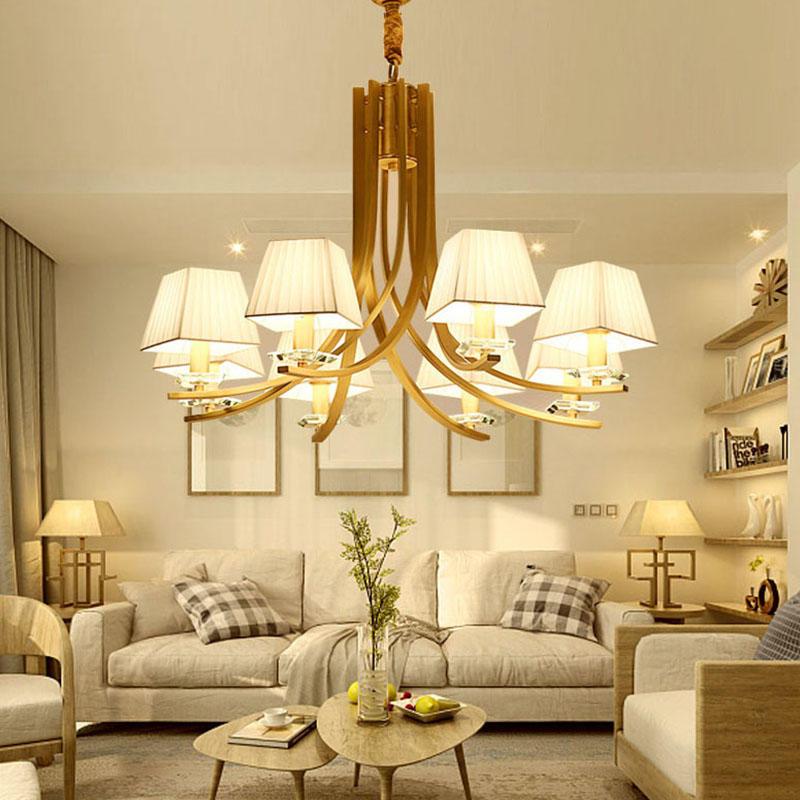 American copper beige fabric lampshade 8-head classic design chandelier