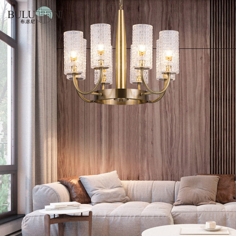 Simple design American copper art glass lampshade chandelier