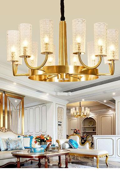 ANC-Art Deco Chandelier Simple Design American Copper Art Light