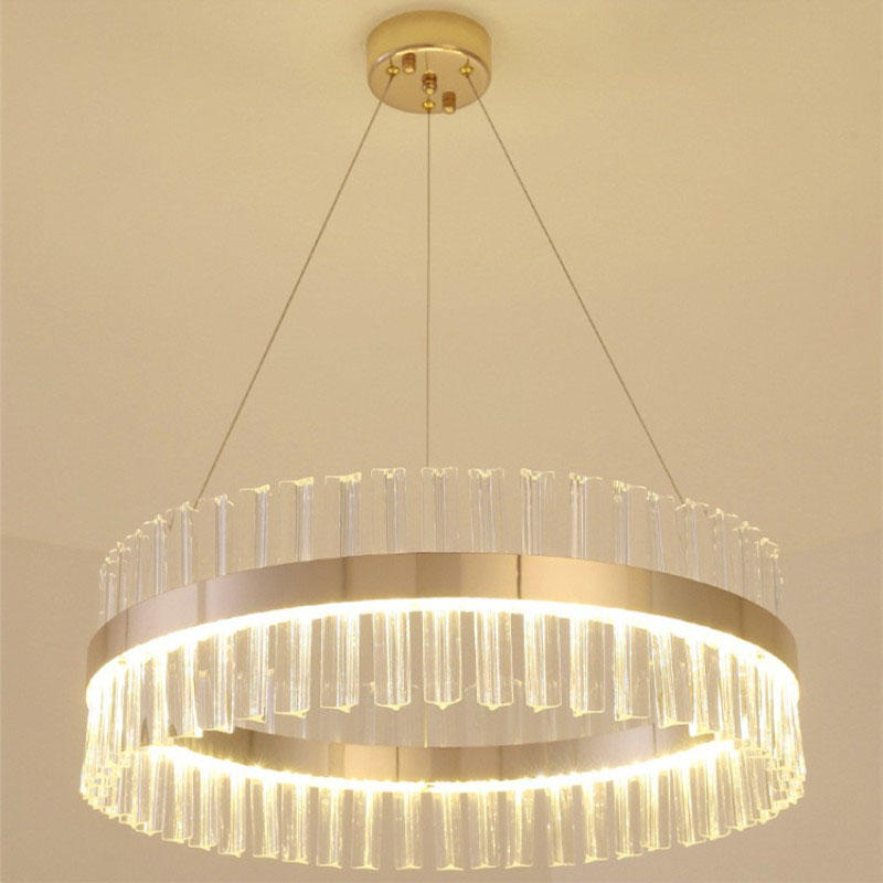 LED Postmodern minimalist crystal strip round light luxury atmosphere Nordic personality chandelier