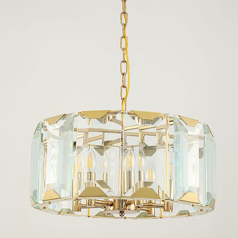 Postmodern minimalist crystal strip round light luxury atmosphere Nordic personality chandelier