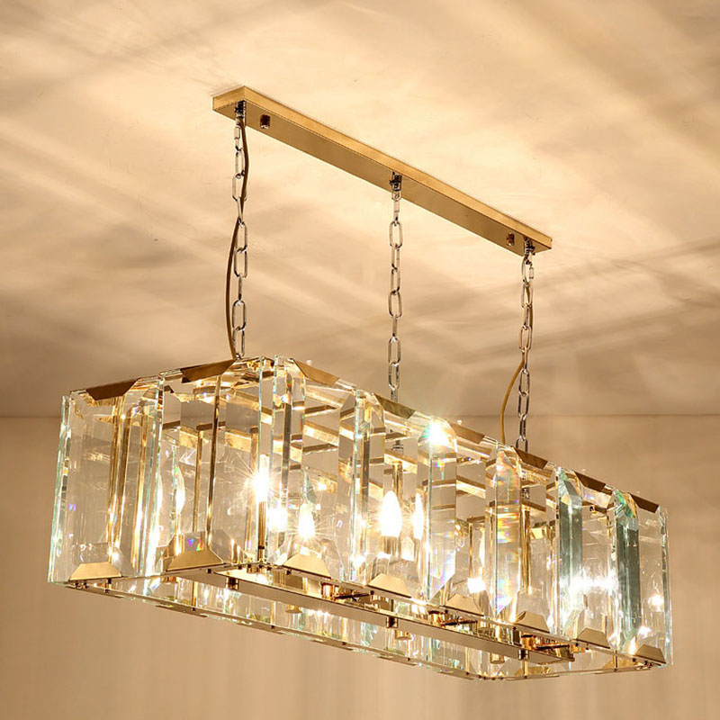 ANC-Copper Chandelier, Postmodern Minimalist Crystal Strip Square Light-2