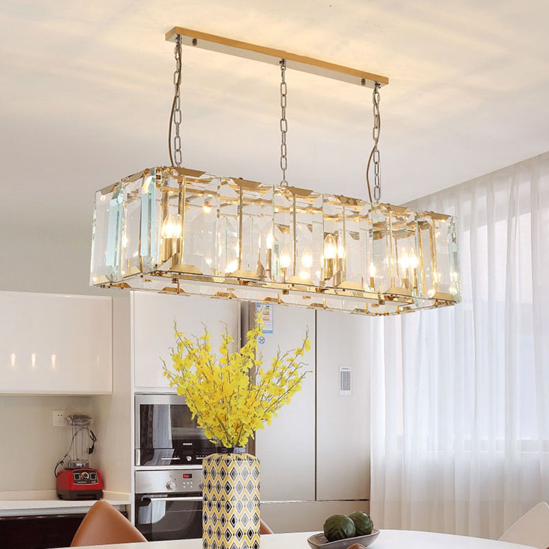 ANC-Copper Chandelier, Postmodern Minimalist Crystal Strip Square Light-4