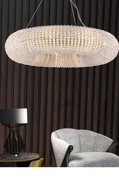 ANC-Pineapple Beads Chandelier Round Large Size Modern Style