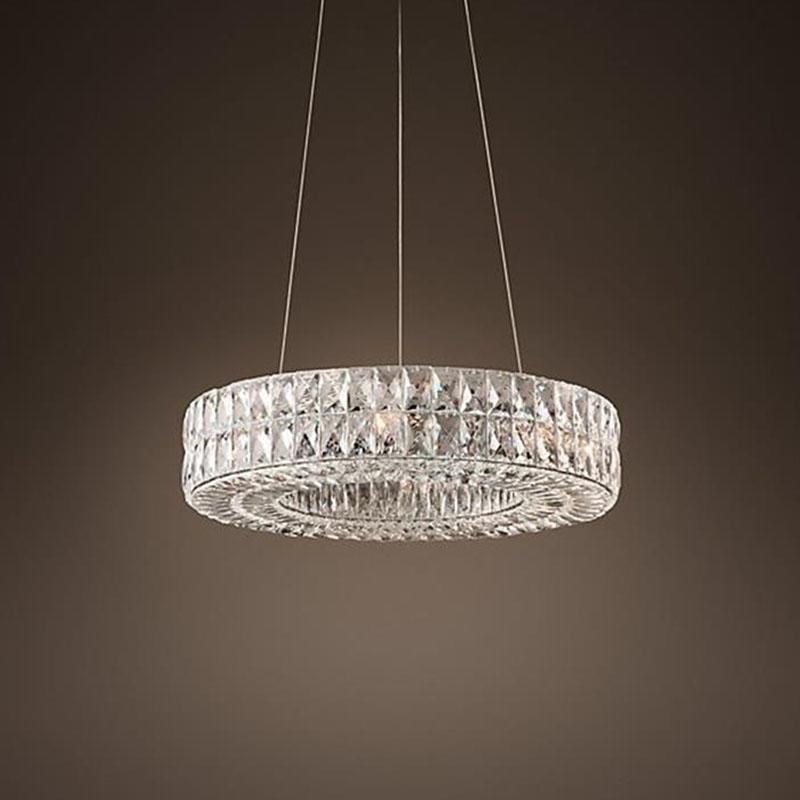 Post-modern round living room crystal light box restaurant led chandelier hotel chandelier project lighting