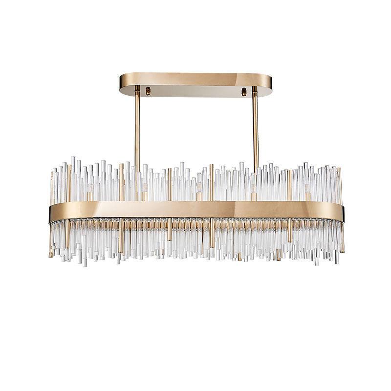 Glass strip oval gold G9 lamp beads simple design restaurant chandelier