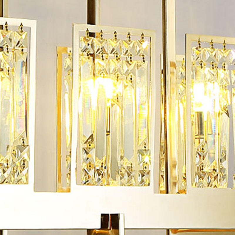 Mirror stainless steel G9 light source crystal strip crystal beads customized chandelier