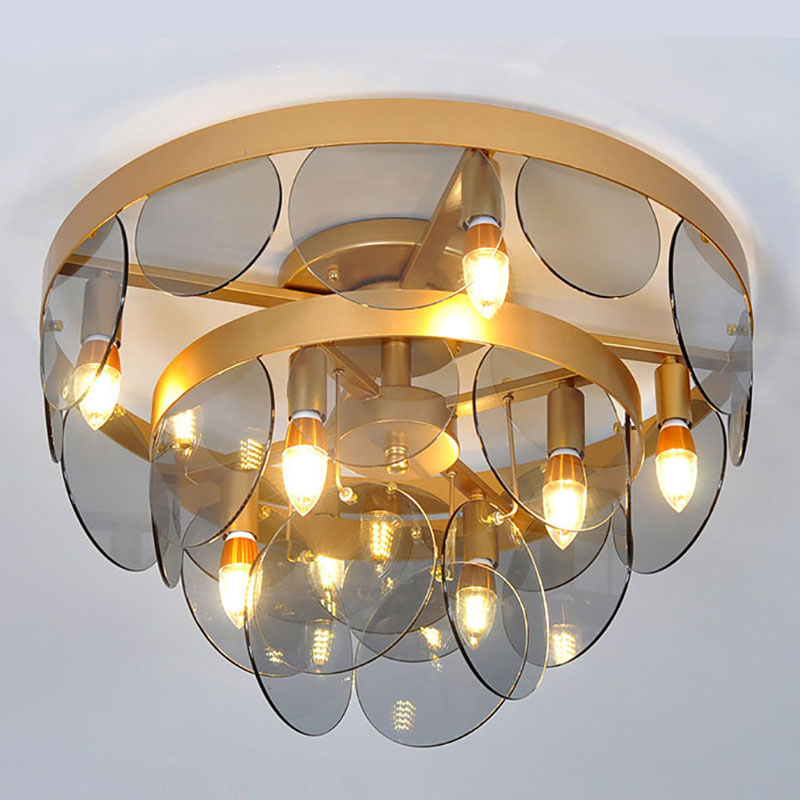 ANC-High-quality Glass Ceiling Lamp | Postmodern Minimalist Round Type-4