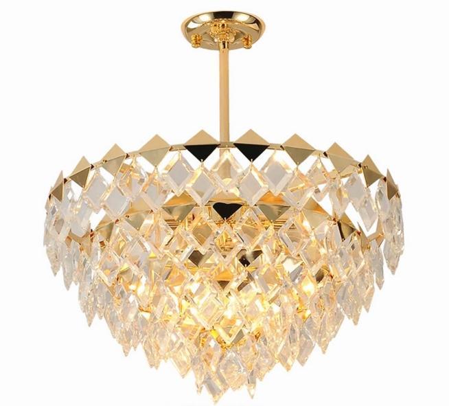 Diamond-shaped Modern Indoor Lighting Luxury Crystal Chandeliers