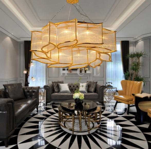 ANC-Modern Dining Room Chandeliers | Leaf Shape Crystal Chandelier