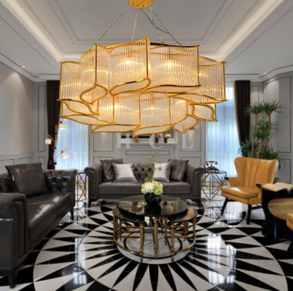ANC-Modern Dining Room Chandeliers | Leaf Shape Crystal Chandelier-2