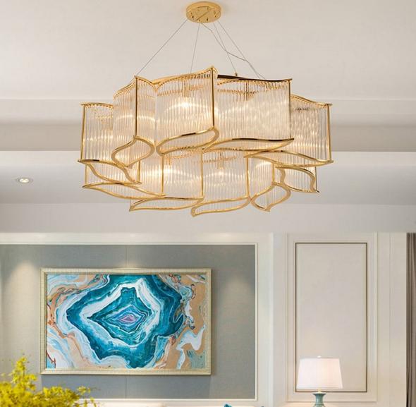 ANC-Modern Dining Room Chandeliers | Leaf Shape Crystal Chandelier-5