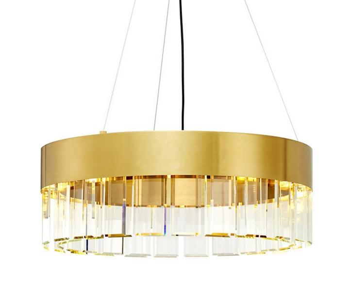 Postmodern minimalist crystal strip round light luxury atmosphere Nordic personality chandelier